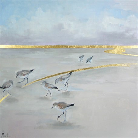 """Ellen Welch Granter   Constellation   oil and gold leaf on panel   24"""" X 24""""   Sold"""
