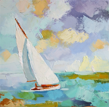 "Claire Bigbee | Catching the Wind | Oil on Canvas | 12"" X 12"" 