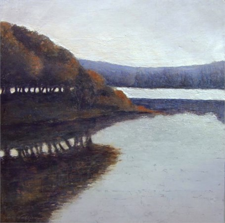 "Jill Valliere | Season's End at Somes Sound | Plaster, Metal Leaf, Acrylic | 18"" X 18"" 