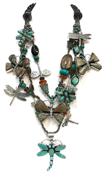 KY 1267 Three Strand Dragonfly Necklace Turquoise, Silver, Smokey Quartz