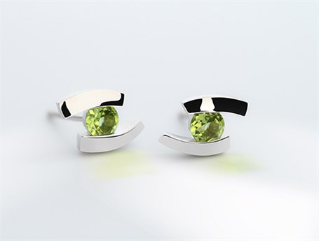Earrings - Floating Peridot and Sterling Silver