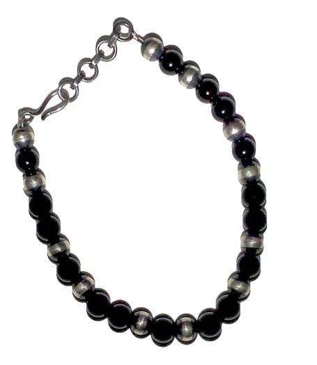 Bracelet - Onyx & Sterling Silver Beads