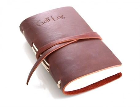 Leather Golf Log with Wrap - Dark Brown  RU13