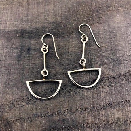 Sterling Silver Earrings: small link with half circle drop