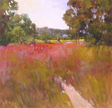 "Monique Sakellarios | A Time for Poppies | Oil on Panel | 16"" X 16"" 