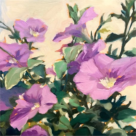 "Margaret Gerding | Day 7 (Petunias) | Oil on Panel | 8"" X 8"" 