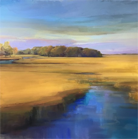 "Holly Ready | Blue Waters | Oil on Canvas | 40"" X 40"" 