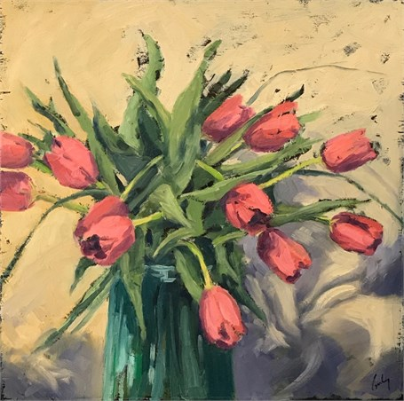 "Margaret Gerding | Tulip Shadows | Oil on Panel | 18"" X 18"" 