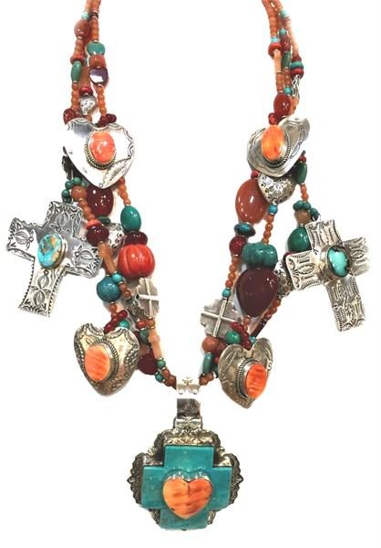 KY 1174  Hearts & Crosses Carnelian & Turquoise