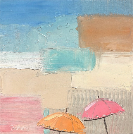 "Bethany Harper Williams | Beach Cocktails | Oil on Canvas | 14"" X 14"" 