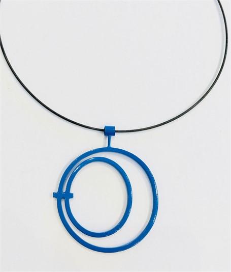 Necklace: Royal Blue Circle in Circle