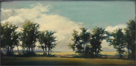 "Margaret Gerding | Trees Along Bridle Path | Oil on Panel | 12"" X 24"" 