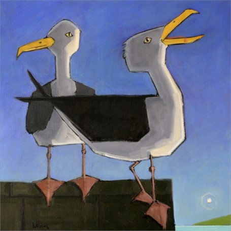 "David Witbeck | Morning Gulls | Oil on Canvas | 30"" X 30"" 