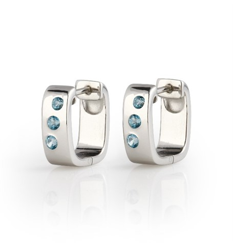 Earrings - Huggies, Blue Topaz & Brushed .925 Silver