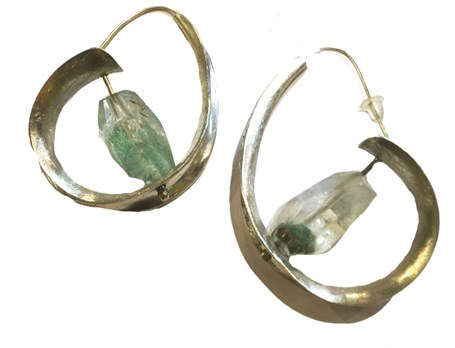 Earrings - Silver Hoops with Phantom Quartz