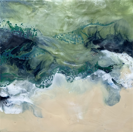 "Kathy Ostrander Roberts | Goat Island Shallows | Encaustic | 8"" X 8"" 