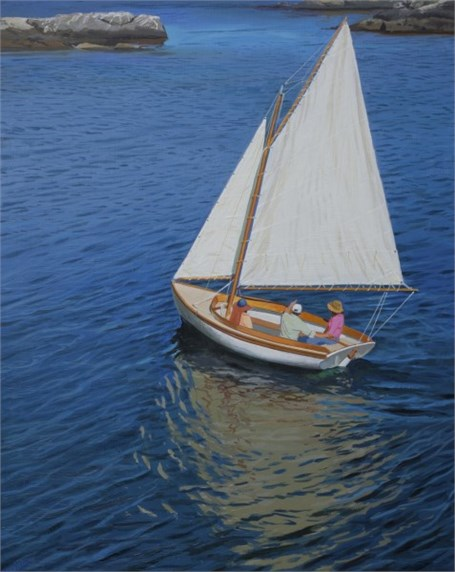 "William B. Hoyt | Herreshoff 12 1/2 | Oil on Panel | 20"" X 16"" 