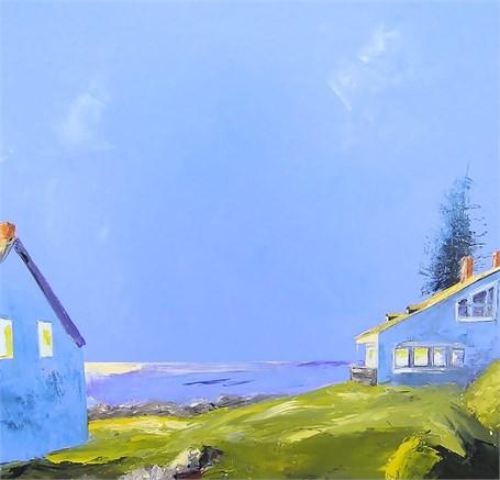 """Janis H. Sanders   Island Waters   Oil on Panel   24"""" X 24""""   Sold"""