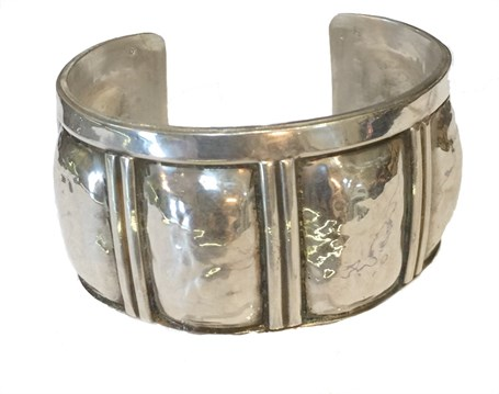 Bracelet - Sterling Silver Wide Repousse Cuff - RW206