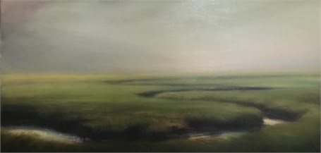 "Margaret Gerding | Evening Fog | Oil on Panel | 20"" X 40"" 
