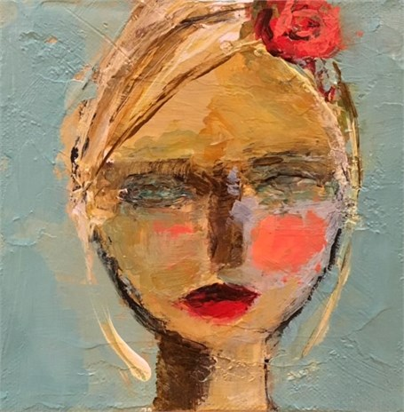 """Lee"" 6"" X 6"" Mixed Media by Holly Irwin. Beautiful Souls Healing With Art: Holly Irwin."