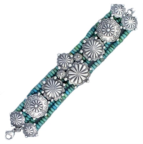 Bracelet - Turquoise and buttons bracelet. A row of sterling Navajo buttons are bordered by blue-green turquoise roundels  #30514