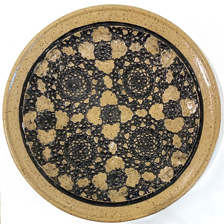 "Richard Winslow | Textured Shallow Dish in Black | Ceramic | 1.5"" X 12"" 