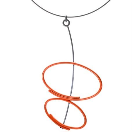 Powder Coated Necklace: Orange Double Oval