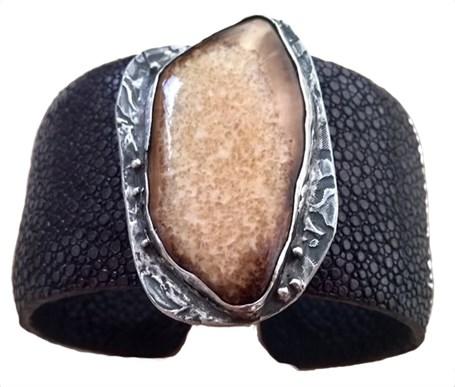 Bracelet Cuff - Stingray & Mastodon Ivory 2307