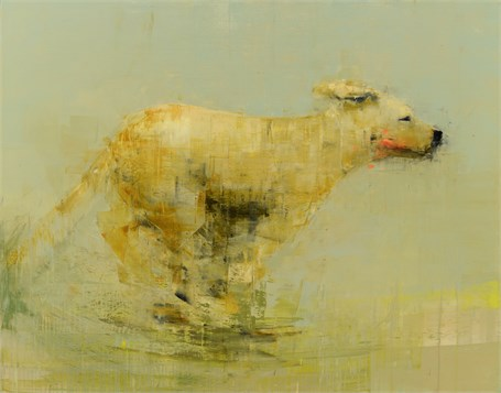 "Rebecca Kinkead | Running Dog (Greener Grass) | Oil and Wax on Linen | 54"" X 68"" 
