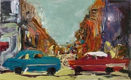 La Vida Cuba: Street in Havana With Red and Blue Cars 1