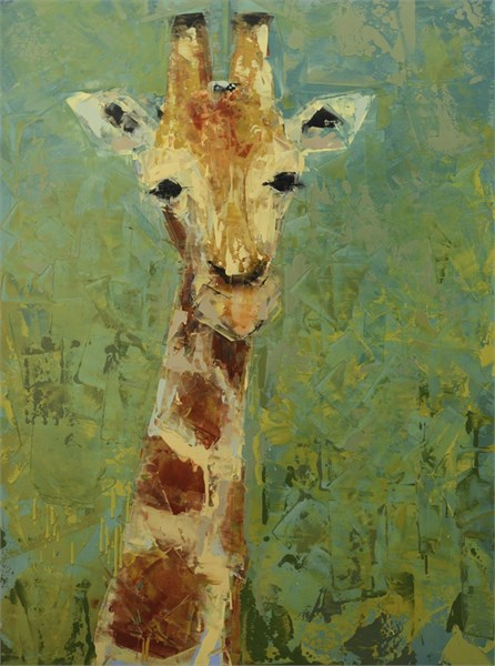 "Rebecca Kinkead | Giraffe | Oil and Wax on Linen | 40"" X 30"" 