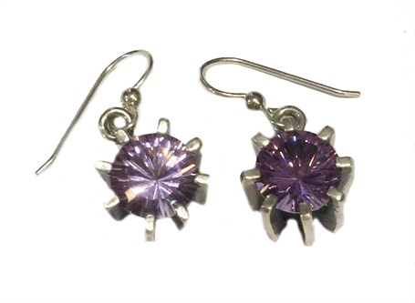 Earrings - Sterling Silver Square Dangles Amethyst  E-681