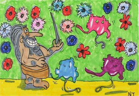 Cinci Caveman Popping Balloons
