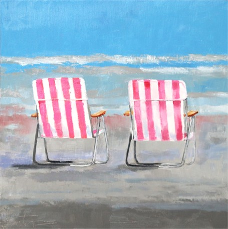"Ellen Welch Granter | Pink Beach Chairs | Oil on Panel | 12"" X 12"" 