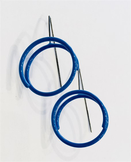 Earrings: Small Continuous Circle in Royal Blue
