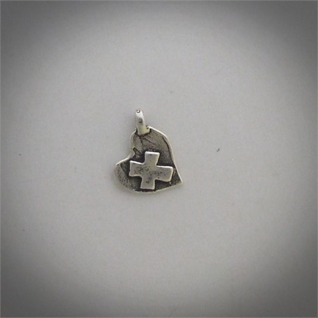 Pendant - A sterling silver baby heart is centered by a cross.  #30515