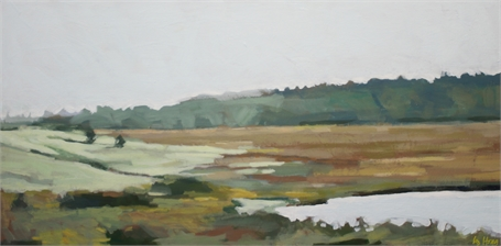 "Liz Hoag | Autumn Marsh | Acrylic on Canvas | 12"" X 24"" 