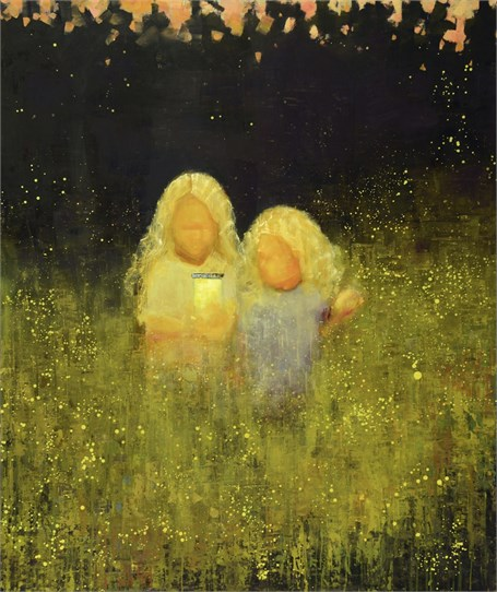 "Rebecca Kinkead | Firefly | Oil and Wax on Linen | 56"" X 48"" 