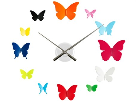 Wall Clock - Multi Color Butterflies