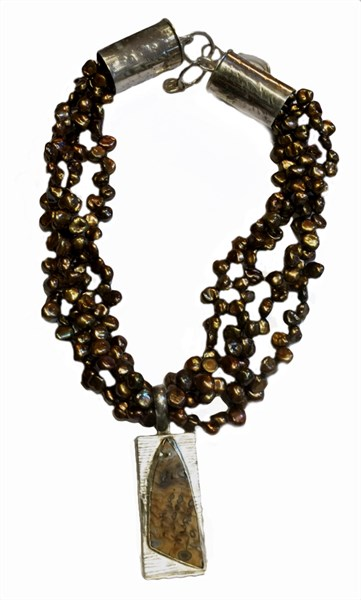 Necklace - Tree Fossil Set In Sterling Silver With Multiple Strands of Brown Freshwater Rice Pearls - RW203