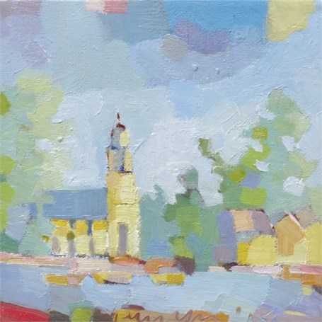 "Henry Isaacs | Church, Kennebunkport | Oil | 10"" X 10"" 