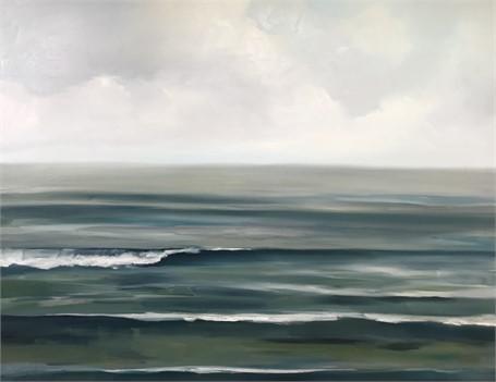 """Jill Matthews   Teal Sea I   Oil on Canvas   48"""" X 60""""   Sold"""