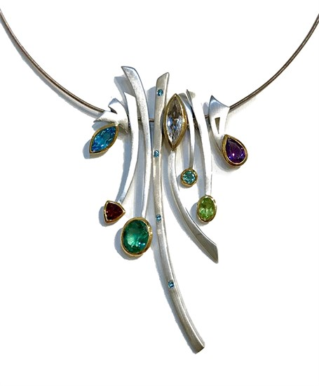Necklace Set - 8 Pendants, Multi Stones, .925 Silver, 14kt - Sticks & Stones