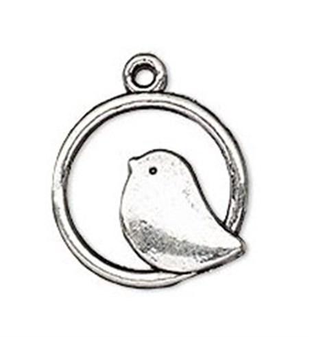 Necklace - Bird in Circle Antique Silver Tone
