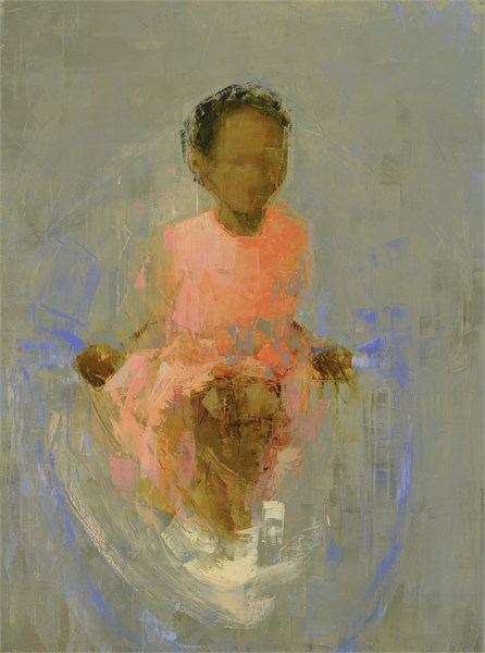 "Rebecca Kinkead | Jump (Pink and Gray) | Oil and Wax on Linen | 48"" X 36"" 
