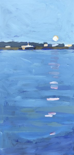 "Liz Hoag | Casco Bay Ferry | Acrylic | 20"" X 10"" 