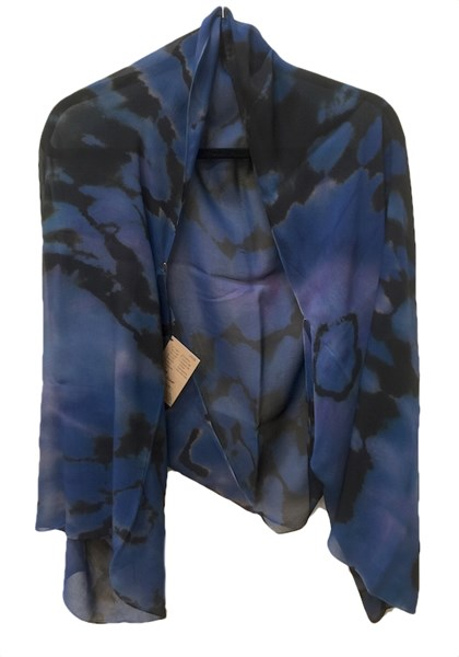 Shrug - Blue Purple Reverse Shibori Chiffon #103