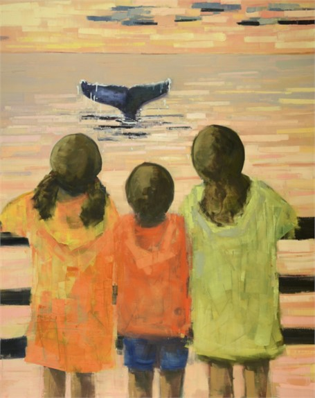 "Rebecca Kinkead | Whale Watch | Oil and Wax on Linen | 60"" X 48"" 
