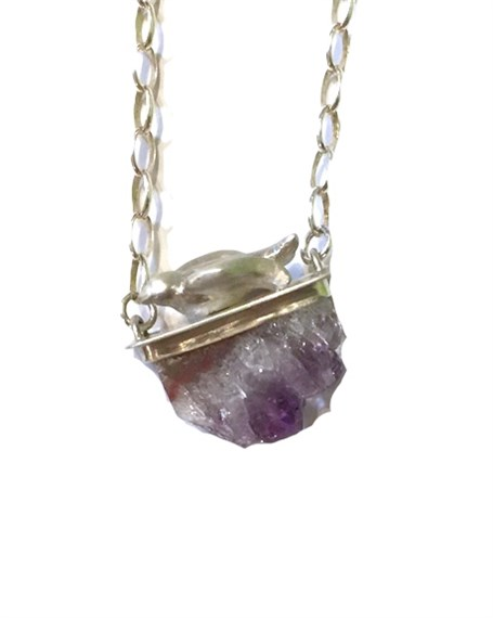 Necklace - Amethyst Geode with Bird 16a